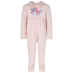 Monsoon - Baby girls' Pink newborn embroidered sleepsuit with hat