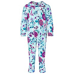 Monsoon - Baby girls' bright turquoise NB 'Primavera' collar sleepsuit