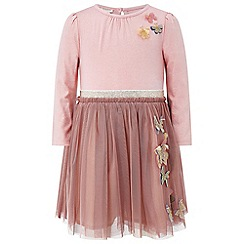 Monsoon - Baby girls' pink 'lynet' 2 in 1 dress