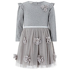 Monsoon - Baby girls' grey 'rita sue' 2 in 1 dress