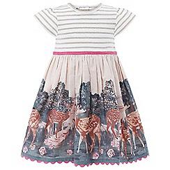 Monsoon - Baby girls' white Darla Deer 2 in 1 Dress