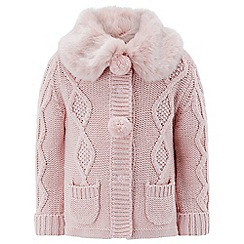 Monsoon - Baby girls' pink Ridley Fur Cardigan