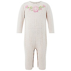 Monsoon - Baby girls' pink newborn 'callie' knitted sleepsuit