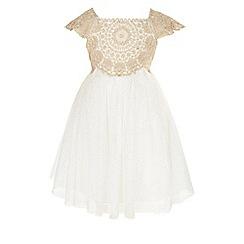 Monsoon - Baby girls' gold 'Estella' sparkle dress