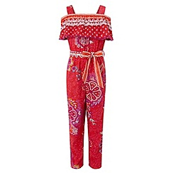 Monsoon - Girls' red hacienda print jumpsuit