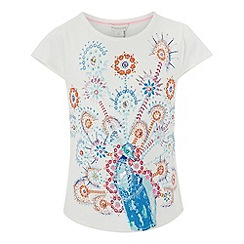 Monsoon - Girls' white preena peacock top