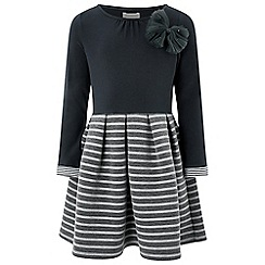 Monsoon - Girls' grey 'Frankie' stripe dress