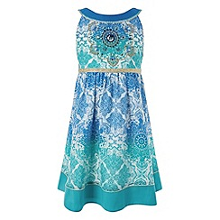 Monsoon - Girls' green anita embellished ombre dress