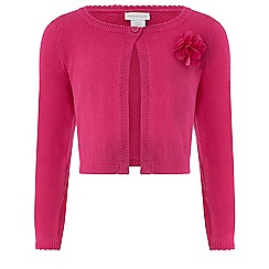 Monsoon - Girls' pink Freya flower cardigan