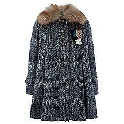 Monsoon - Girls' blue 'Alma' tweed coat