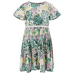 Monsoon - Girls' green 'danesfield' pleat dress