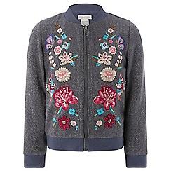 Monsoon - Girls' grey 'saskia' embroidered bomber jacket