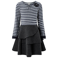 Monsoon - Girls' grey 'sofia' stripe dress