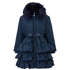 Monsoon - Girls' blue 'poppy' padded puffball coat