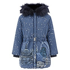 Monsoon - Girls' blue 'London' bubble hem coat