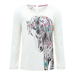 Monsoon - Girls' white 'hettie' horse top