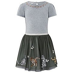 Monsoon - Girls' grey disco cat dress