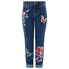 Monsoon - Girls' blue 'iris' butterfly jeans