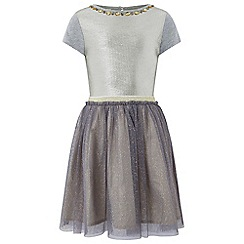 Monsoon - Girls' silver 'sylvie' sparkle 2 in 1 dress