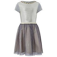 Monsoon - Girls' silver 'sylvie' sparkle 2 in 1 dress