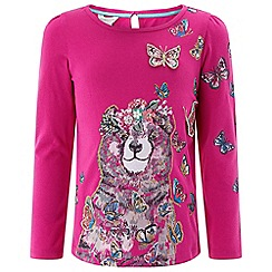 Monsoon - Girls' pink 'Bobbie' bear top
