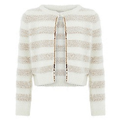 Monsoon - Girls' white stripey cardigan