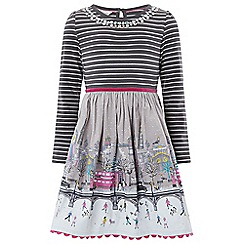 Monsoon - Girls' grey London stripe 2 in 1 dress