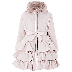 Monsoon - Girls' pink 'Poppy' padded puffball coat