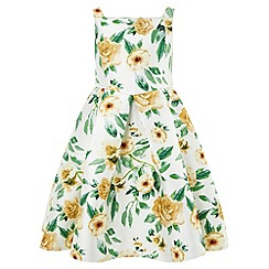 Monsoon - Girls' yellow citrus rose dress