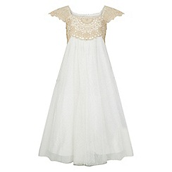 Monsoon - Girls' gold estella sparkle dress