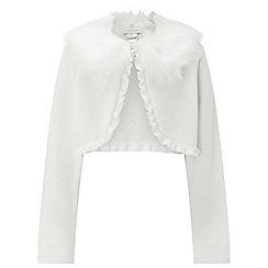 Monsoon - Girls' white 'Firenze' fur cardigan
