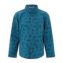 Monsoon - Boys' blue Bennie' bike print long sleeve shirt