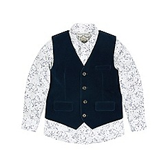 Monsoon - Boys' blue 'Hugo' velvet waistcoat and shirt set