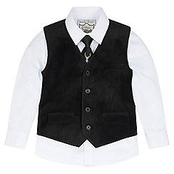 Monsoon - Boys' black 'Jacques' velvet waistcoat set