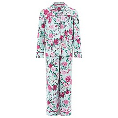 Monsoon - Girls' blue Florencia Rose Print Flannel PJ