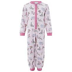 Monsoon - Girls' pink 'Laila' London print jersey sleepsuit
