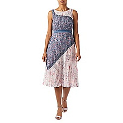 Monsoon - Multi-coloured pleated 'Blossom' midi length summer dress