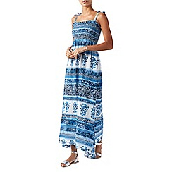 Monsoon - Blue printed 'Mia' bandeau maxi dress