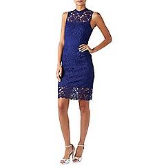 Monsoon - Blue lace 'Acer' high neck knee length dress