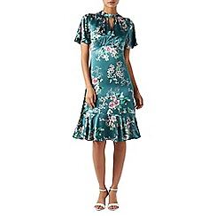 Monsoon - Blue floral print 'Alicia' high neck knee length tea dress