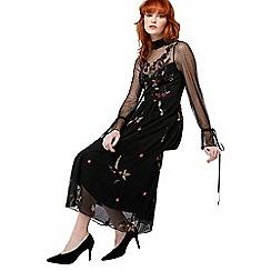 Monsoon - Black 'Roco' embroidered midi dress