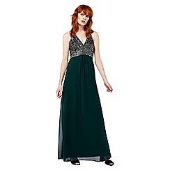Monsoon - Green 'Enya' embroidered maxi dress