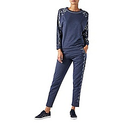Monsoon - Blue 'Rita' embroidered joggers