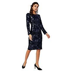 Monsoon - Blue 'Rafaela' embroidered velvet dress