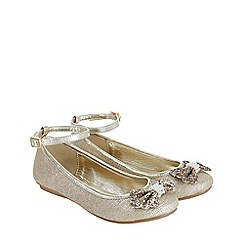Monsoon - Girls' gold pearl and glitter bow ballerina shoes