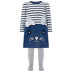 Monsoon - Baby girls' blue 'Dorris' Mouse dress and tights set