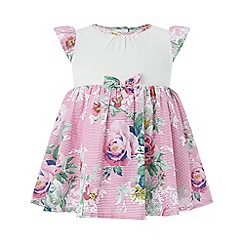 Monsoon - Pink newborn Baby girls' 2 in 1 'Abbie' Dress