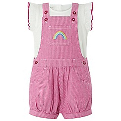 Monsoon - Baby girls' pink 'Tillie' ticking stripe dungaree