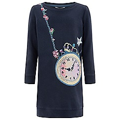 Monsoon - Girls' blue 'Claudia' clock sweat dress