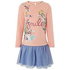 Monsoon - Girls' pink 'Smile 2in1' dress